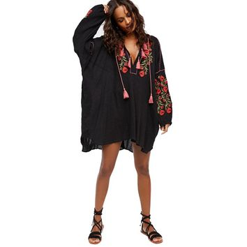 2018 New Spring Shirt Dress Floral Embroidered V-Neck Tassel Mini Loose Casual Beach Bohemian Chic Hippy Dresses Women Vestido
