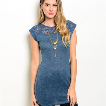 Cap Sleeve Lace Accent Long Top