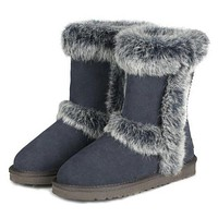 Fashion Women Fur Wool Snow Boots In Tube Boots Shoes