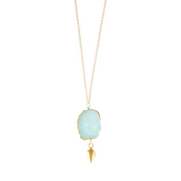 Aqua Druzy Gold Necklace