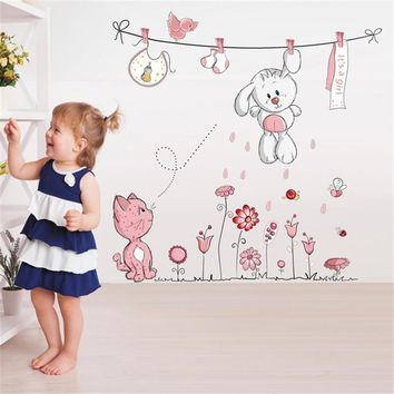 Cute Hang Clothes Rabbit Cat Removable Mural Kindergarten Nursery Kids Baby Child Bedroom Decor Self Adhesive Wall Sticker Decal
