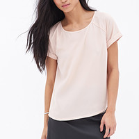 FOREVER 21 Boxy Chiffon Top Blush