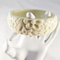 Vintage Carved Bangle Bracelet, Floral Pattern, Ivory Color, Hard Plastic, Bakelite??