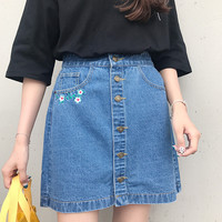 LIL FLOWER DENIM SKIRT