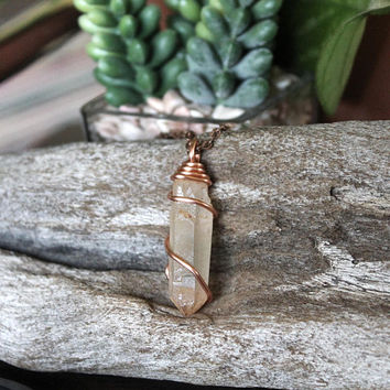 Peach Quartz Necklace, Raw Crystal Pendant, Bohemian Jewelry, Hippie Festival Fashion, Boho Chic Bridesmaid Gift Idea, Chakra/Reiki Healing