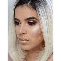 Short Bleach Blonde Ombre Straight Bob Synthetic Lace Front Wig