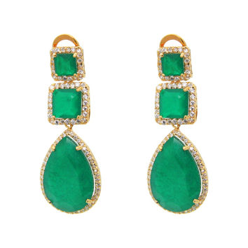 Art Deco Opera Emerald Quartz Doublet & Cubic Zirconia Sterling Silver Earrings Fronay Co