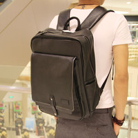 Vintage Men's 15 Inch Laptop Bag Black Leather Backpack Travel Bag