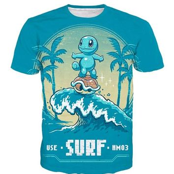 Cute Cartoon  Short sleeve Squirtle 3D print t shirt Men Women Summer style casual fashion t shirt topsKawaii Pokemon go  AT_89_9