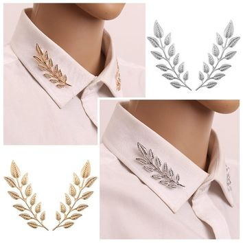 1Pair Trendy Brooch Jewelry Exquisite Tree Leaf Pins Brooches For Women Leaves Brooch Pin Gold Silver Plant Collar Needle Broche