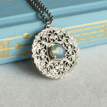 Silver Opal Locket Necklace, October birthstone Victorian round ornate vintage style pendant filigree wedding Anniversary Christmas gift