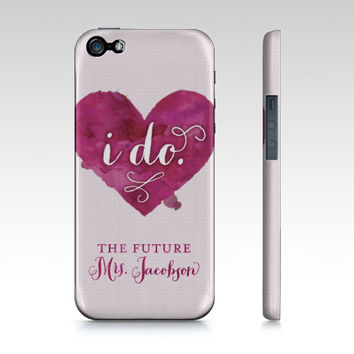 "CUSTOM Watercolor Heart Bridal ""I do"" iPhone or Samsung Galaxy Phone Case - Add your married name #personalize #wedding #bride #ido #engaged"