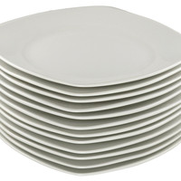 Square Porcelain Dinner Plates, Set of 12, Dinner Plates