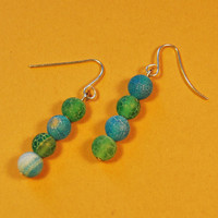 Green Blue Dragon Vein Beads Earrings