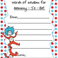 Dr Seuss Baby Shower Mommy Advice Cards  / Printable File