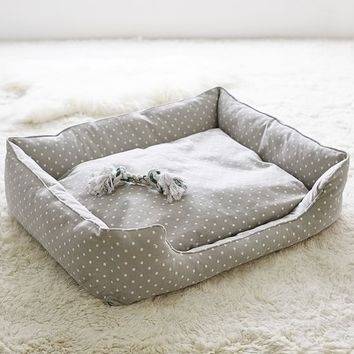 Northfield Canvas Pet Beds, Gray Dot