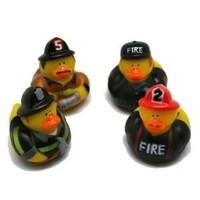 Pack Of 12 Firefighter Fireman Fire Fighter Hero Rubber Ducks Duckys