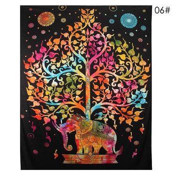 2017 Bedding Outlet Elephant Mandala Tapestry Crystal Arrays Blue Beautiful Wall Art Tapestry Indian Sheet belgium New Bedding