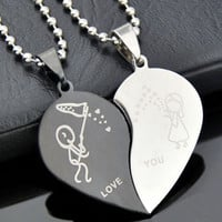 Fashion Jewelry Stainless Steel Love Heart Shaped Couple Lovers Pendant Necklace = 1930046468