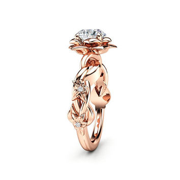 Unique Engagement Ring Moissanite Engagement Ring Rose Gold Ring Unique Moissanite Ring