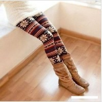 Multi-Colored Women's Soft Knitted Stripe Snowflakes Leggings Tights Gift W011: Toys & Games