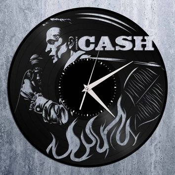 Johnny Cash Clock - Johnny Cash Wall Art Record Clock, Vinyl Record Clock, Unique Wall Clock, Large Wall Clock, Vinyl Clock