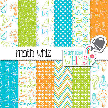 "School Digital Paper - ""Math Whiz"" - math, algebra, and geometry scrapbook papers in orange, aqua & lime - printable paper - commercial use"
