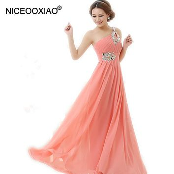 NICEOOXIAO Vestido De Festa Longo Pink Formal Long Evening Dresses  New Arrival One Shoulder Chiffon Robe De Soiree Abendkleider