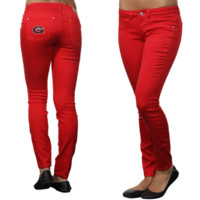 Georgia Bulldogs Ladies Color Denim Pants - Red
