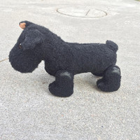 Black Terrier Toy Dog, Pull Toy on wheels, Vintage Mechanical Animal