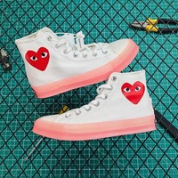 Comme Des Garcons X Converse Chuck 1970 Translucent Midsole High Cdg White/ Pink Sneakers