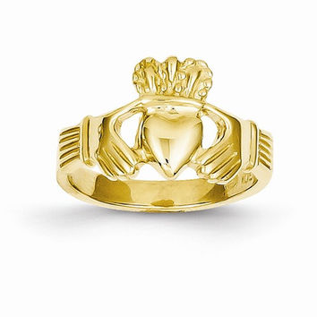 14kt yellow gold ladies claddagh ring