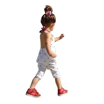 Kids girls romper Toddler Kids Baby Girls Dot Straps Rompers Jumpsuits Piece Pants Clothing girls clothes ping