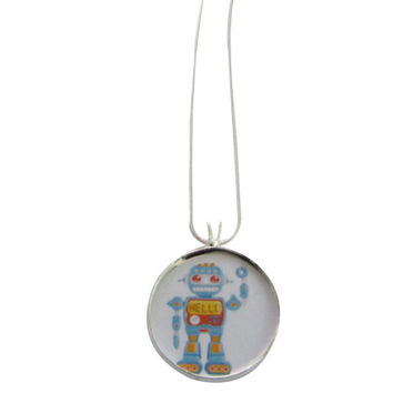 Robot Necklace-steampunk necklace,Geeky Robot,sci fi jewelry,vintage robot,robot jewelry,robot pendant,colorful robot,geekery jewelry,geek