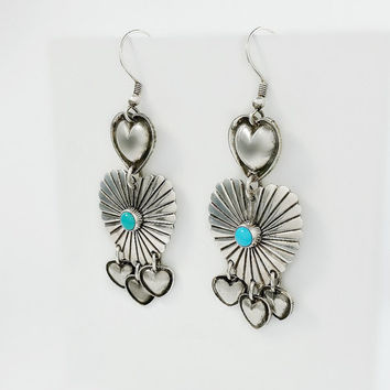 Heart Dangle Earrings - Sterling and Turquoise Heart Earrings - Chandelier Heart Earrings - Navajo Heart Earrings - Sterling Navajo Earrings