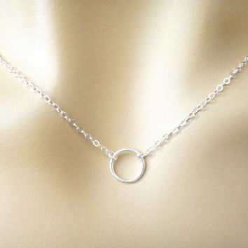 circle - sterlingsilver ring necklace, silver necklace, karma necklace, halo, circle necklace