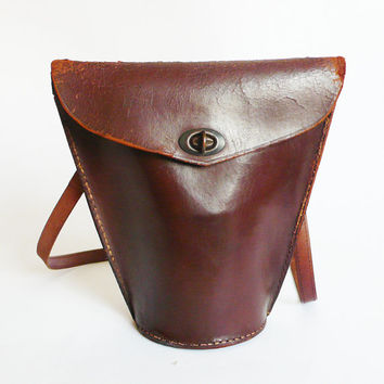 vintage 1950'S Leather  Small  Fifties Binoculars  cross body bag Adjustable strap free shipping