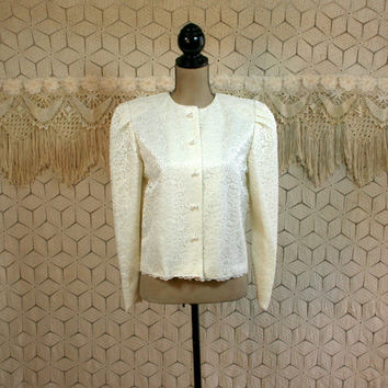 80s Vintage Lace Jacket Medium Ivory Cream Puff Sleeves Boxy Womens Jackets Cream Jacket Cocktail Jacket Ivory Jacket 1980s Vintage Clothing