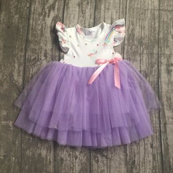 new arrivals summer baby girls kids boutique clothes lavender unicorn bow lace sleeveless bow cotton princess dress ball gown