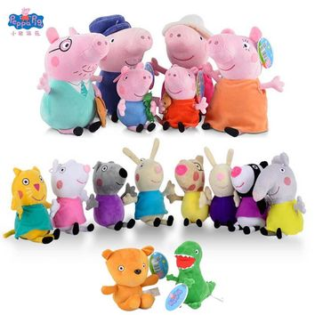 Original Peppa George Pig Family Friends Plush Toys Schoolbag Party Decorations Kids Birthday Party Christmas Halloween Gift Toy