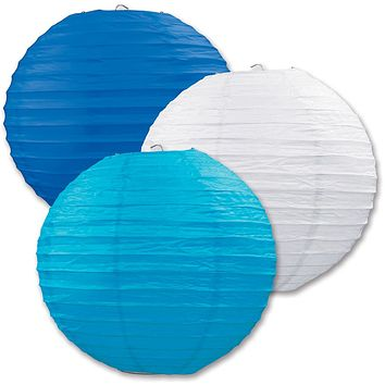 Paper Lanterns - Assorted Blue, White, Turquoise Case Pack 6