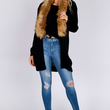Fur Collar Cardigan Black