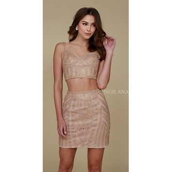 Nox Anabel R650 Two Piece Sexy Cocktail Dress Gold Tight Fit
