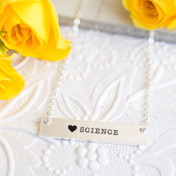 I Love Science Gold / Silver Bar Necklace