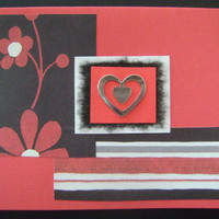 Handmade Card - Black and Red Card with Metal Heart