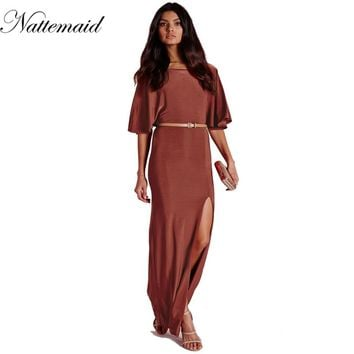 New Arrival Brick-red Half Sleeve Bating Open Back Maxi Dress Rust Slip Jersey Backless Long Dress Party Club Dresses
