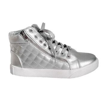 Steve Madden Decaf   Silver High Top Quilted Lace Up Sneaker