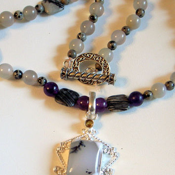 Shades of Gray Necklace - Dendrite Opal And Amethyst Pendant - Moonstones -Silver - One of A Kind