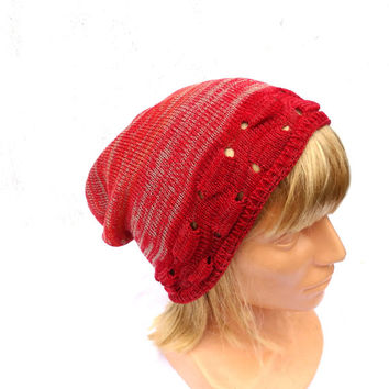 Knitted cotton hat knit summer cotton cap red gray orangy beanie knit womens cloche lace slouche  striped eco friendly hat knit tam handmade