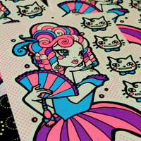 The Debutante Screen Printed Vinyl die-cut sticker STICKER ENVY collaboration, antoinette, whimsical pop surrealism stickers, cats, kitten